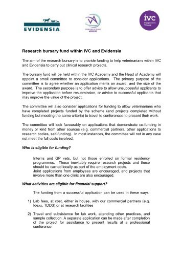 IVC research bursary