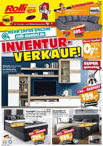 Achtung, Schnäppchen! Inventur-Verkauf bei Rolli SB-Möbelmarkt in 65604 Elz bei Limburg!