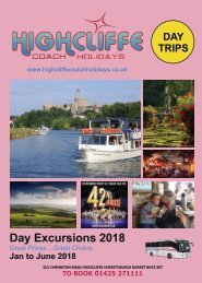 Highcliffe Coach Holidays 2018 Day Excursion Brochure