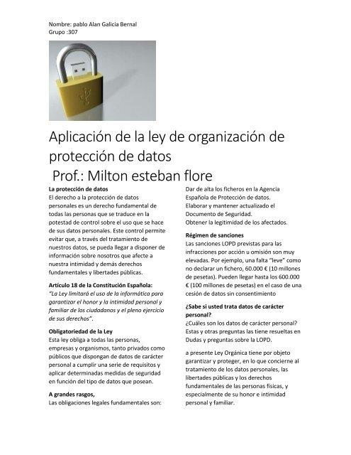Aplicación De La Ley De Organización De Protección De Datos