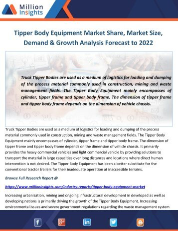 Tipper Body Equipment Market Share, Market Size, Demand & Growth Analysis Forecast to 2022