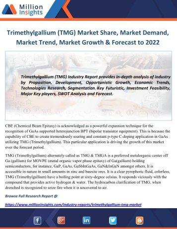 Trimethylgallium (TMG) Market Share, Market Demand, Market Trend, Market Growth & Forecast to 2022