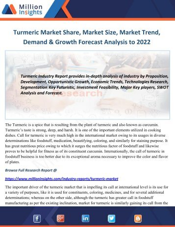 Turmeric Market Share, Market Size, Market Trend, Demand & Growth Forecast Analysis to 2022