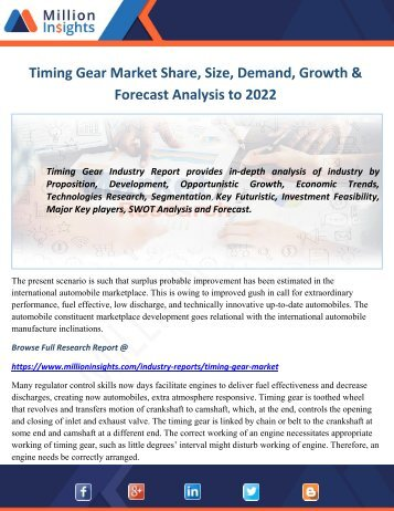 Timing Gear Market Share, Size, Demand, Growth & Forecast Analysis to 2022