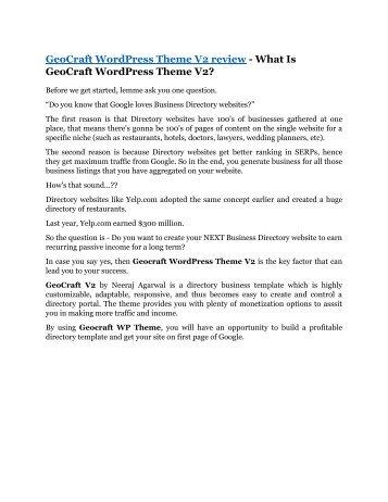 GeoCraft WordPress Theme V2 review demo and $14800 bonuses