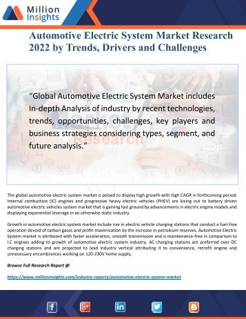 Automotive Electric System Market 2017 by Feature Investment Drivers, Opportunities