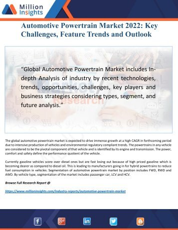 Automotive Powertrain Market 2022: Key Trends, Drivers and Profile Analysis Forecast