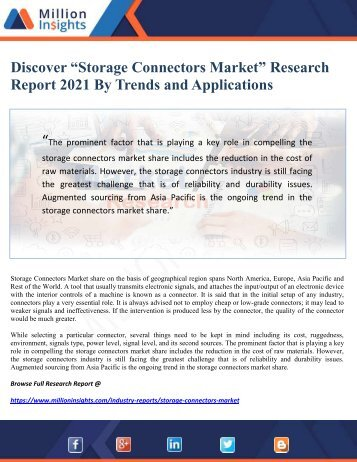 "Discover ""Storage Connectors Market"" Research Report 2021 By Trends and Applications"