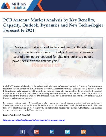 PCB Antenna Market Analysis by Key Benefits, Capacity, Outlook, Dynamics and New Technologies Forecast to 2021