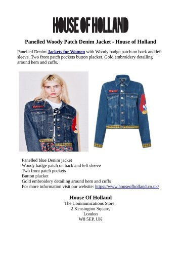 Panelled Woody Patch Denim Jacket - House of Holland