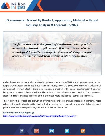 Drunkometer Market By Product, Application, Material – Global Industry Analysis & Forecast To 2022