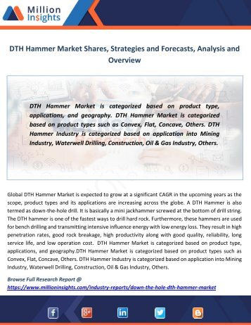 DTH Hammer Market Shares, Strategies and Forecasts, Analysis and Overview
