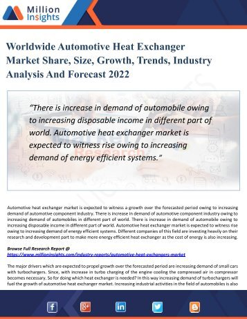 Automotive Heat Exchanger Market Growth, Opportunities, Share's, Industry Applications, Analysis and Forecast To 2022