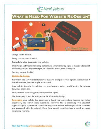 What is Need for Website Re-Design?