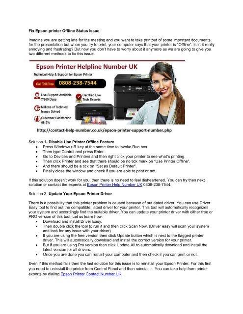 Fix Epson printer Offline Status Issue