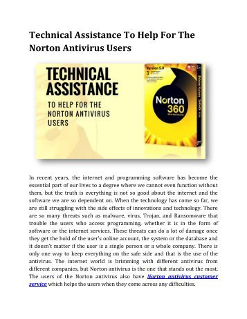 Technical Assistance To Help For The Norton Antivirus Users