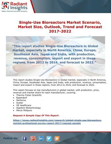 Single-Use Bioreactors Market Growth Analysis, Opportunities Forecasts till 2022