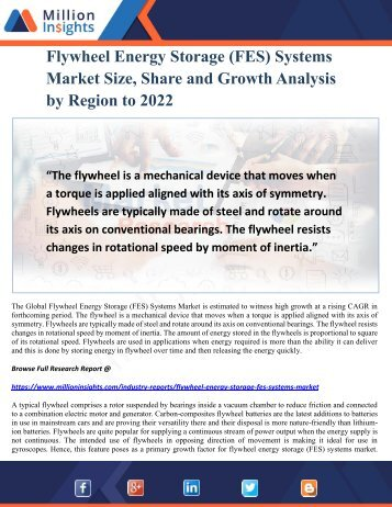 Flywheel Energy Storage (FES) Systems Market Size, Share and Growth Analysis by Region to 2022