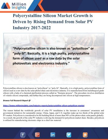 Polycrystalline Silicon Market Growth is Driven by Rising Demand from Solar PV Industry 2017-2022