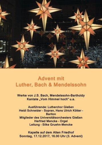 Einladung: Advent mit Luther Bach, und Mendelssohn