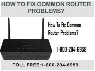 Call 18442003971 To Fix Common Router Problems