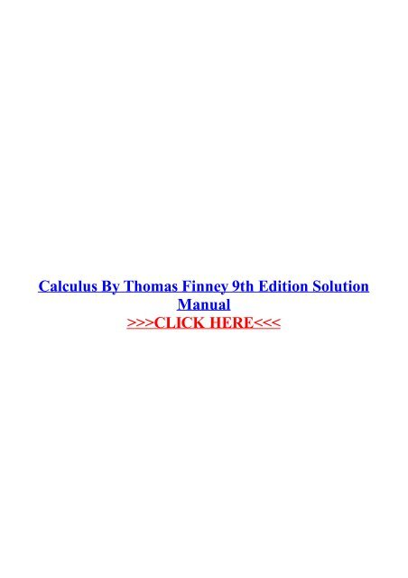 Thomas Finney Calculus Pdf 9th Edition