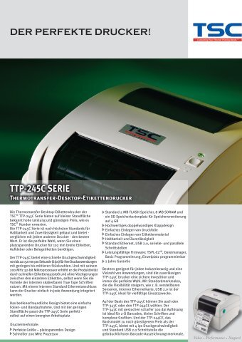 TTP-245C SERIE Thermotransfer-Desktop ... - Bci GmbH