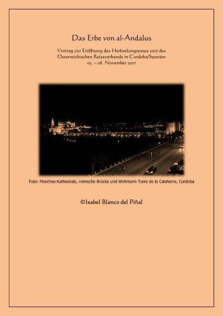 Das Erbe von al-Andalus - Vortrag Isabel Blanco del Piñal für OERV Nov 2017 Cordoba