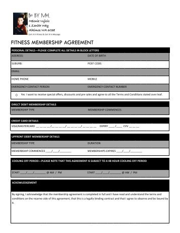 Be By Mel Membership Agreement