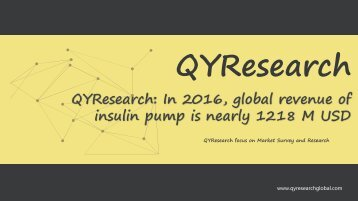 QYResearch: In 2016, global revenue of insulin pump is nearly 1218 M USD