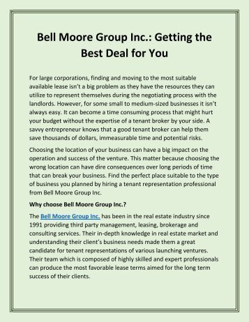 Bell Moore Group Inc.: Getting the Best Deal for You