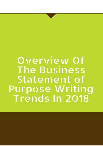 Overview of the Business Statement of Purpose Writing Trends in 2018