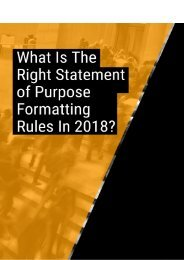 What is the Right Statement of Purpose Formatting Rules in 2018