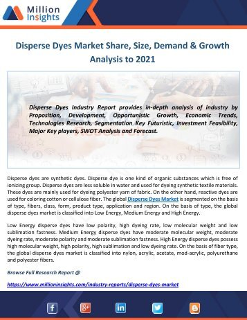 Disperse Dyes Market Share, Size, Demand & Growth Analysis to 2021