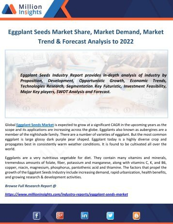 Eggplant Seeds Market Share, Market Demand, Market Trend & Forecast Analysis to 2022