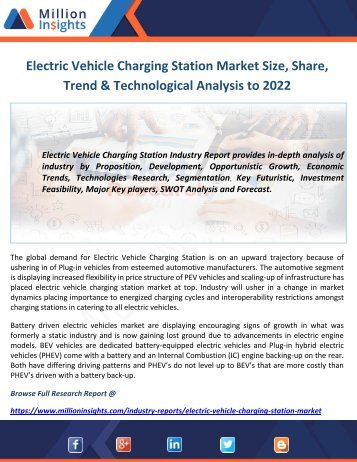 Electric Vehicle Charging Station Market Size, Share, Trend & Technological Analysis to 2022