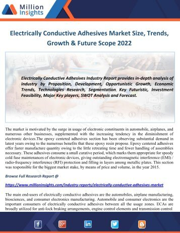 Electrically Conductive Adhesives Market Size, Trends, Growth & Future Scope 2022