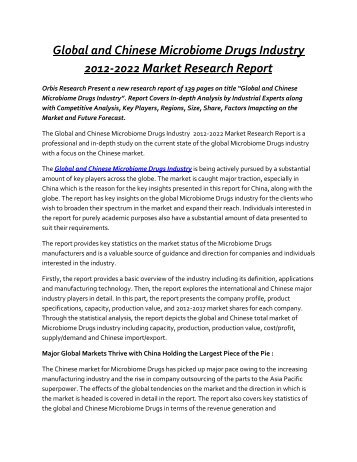Microbiome Drugs Market to Grow at a Sensational CAGR by 2022