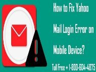 How to Fix Yahoo Mail Login Error on Mobile Device? 18006044875