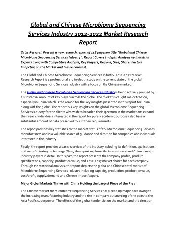 Microbiome Sequencing Services Market Estimated to Experience a Hike in Growth by 2022