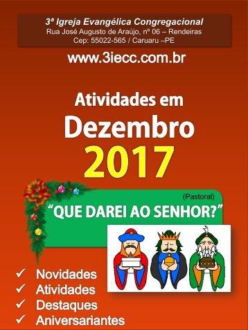 Programação do mês de Dezembro - 3ª IECC