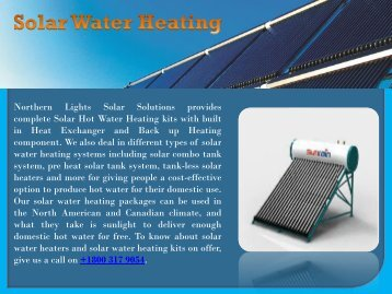 Solar Water Heating Kits and Heaters Systems