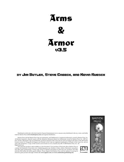 D Amp D 3 5 Arms And Armor Revised +5 competence bonus to the jump skill. d amp d 3 5 arms and armor revised