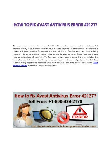 How to fix Avast Antivirus Error 42127