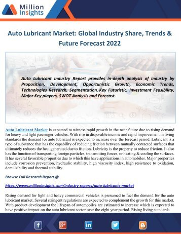 Auto Lubricant Market Share, Trends & Future Forecast 2022