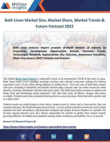 Bath Linen Market Size, Market Share, Market Trends & Future Forecast 2022