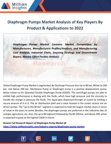 Diaphragm Pumps Market Analysis of Key Players By Product & Applications to 2022