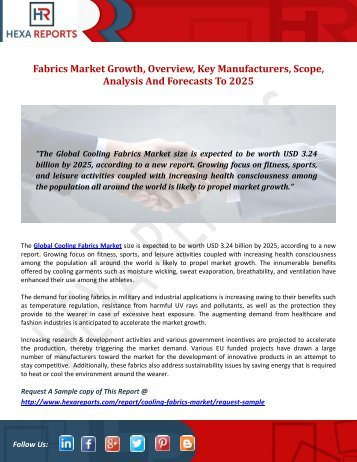 Cooling Fabrics Market Growth, Overview, Key Manufacturers, Scope, Analysis And Forecasts To 2025