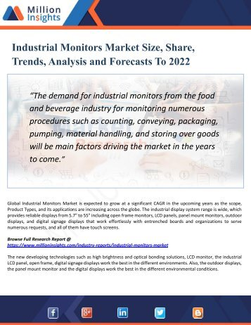 Industrial Monitors Market : Industry Capacity, Production, Revenue, Price and Gross Margin 2017-2022