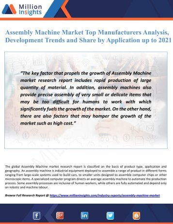 Assembly Machine Market Top Manufacturers Analysis, Development Trends and Share by Application up to 2021